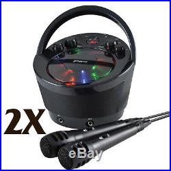 2X Groov-e GVPS923BK Portable Karaoke Boombox with CD Player Bluetooth Playback