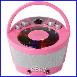 2X Groov-e GVPS923PK Portable Karaoke Boombox with CD Player Bluetooth Playback