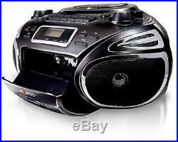 AXESS Portable Boombox With AM/FM Radio, CD/MP3 Player, USB/SD, Cassette And