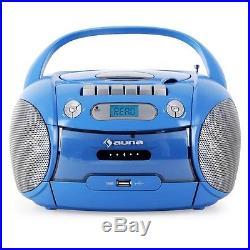 Auna Boomboy Portable Boombox CD Cassette Player USB MP3 Blue
