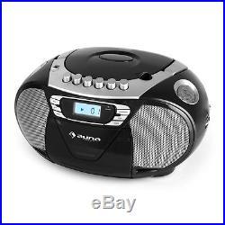Auna KrissKross Portable Boombox Cassette Player USB MP3 FM CD Black