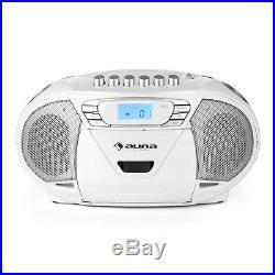 Auna KrissKross Portable Boombox Cassette Player USB MP3 FM CD White
