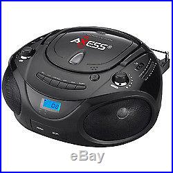 Axess Black Portable Boombox MP3/CD Player with Text Display, with AM/FM Stere