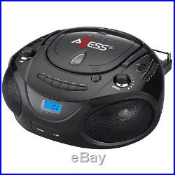 Axess Black Portable Boombox MP3/CD Player with Text Display with AM/FM Stereo
