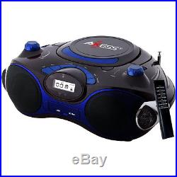 Axess Blue Portable Boombox MP3/CD Player with Text Display with AM/FM Stereo U