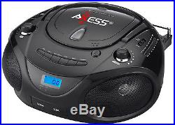 Axess PB2703 Black Portable Boombox MP3 /CD Player Text Display AM/FM Stereo New