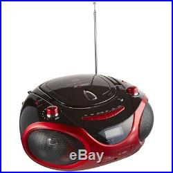 Axess Pb2703Red Red Portable Boombox Mp3/Cd Player Text Display Am/Fm Stereo