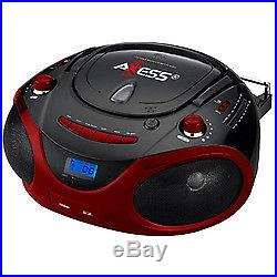 Axess Red Portable Boombox MP3/CD Player with Text Display, with AM/FM Stereo
