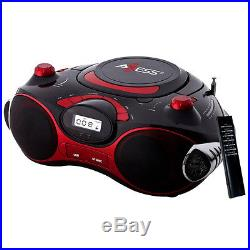 Axess Red Portable Boombox MP3/CD Player with Text Display with AM/FM Stereo US