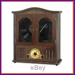 BOOMBOX Wall Mounted Record Player CD Wood Turntable Bluetooth Builtin Stereo
