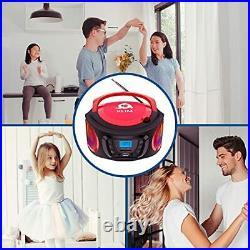 Boombox Portable Audio System. FM Radio, CD Player, Bluetooth, MP3, USB, Red