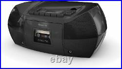 Borne PRCDT550-BK Portable Boombox CD Cassette Player/Recorder with AM/FM Radio