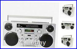 Brooklyn 1980S-Style Portable Boombox CD Player, Cassette Player, FM Radio