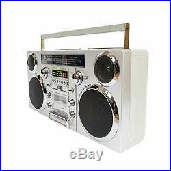 Brooklyn 1980S-Style Portable Boombox CD Player, Cassette Player, FM Radio, U