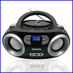 CD Player Boombox, Portable Bluetooth FM Radio Stereo Sound System with Crystal