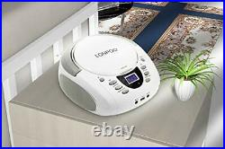 CD Player Portable Boombox with FM Radio/USB/Bluetooth/AUX Input and White