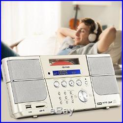 DPNAO Boom Box Portable CD Player with USB Headphones Jack FM Radio SD Slot Clock