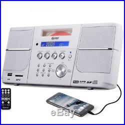 DPNAO CD Player, Portable Boombox, with FM Radio, Alarm Clock, USB, SD Card