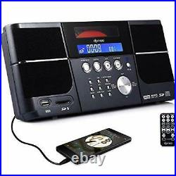 DPNAO Cd Player Portable Boom Box with Clock FM Radio Clock USB SD Aux Line-i