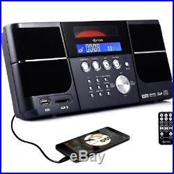 DPNAO Portable cd player Boombox with FM Radio Clock USB SD and Aux Line-In for