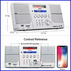 Dpnao CD Player Portable Boombox with Alarm Clock FM Radio Headphone Jack white