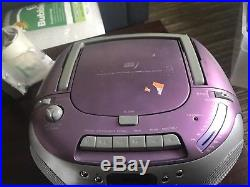 Emerson CD Player Cassette Boombox PURPLE SILVER Radio FM Stereo 2003 PD6537PL