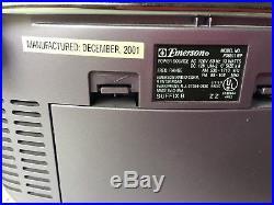 Emerson Digital CD Player Cassette Boombox PURPLE Radio Stereo 2001 PD6511WP