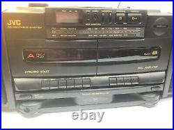 Fully Tested JVC PC-X105 CD Portable System Player AM/FM Dual Cassette Boombox