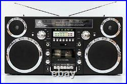 GPO Brooklyn 1980S-Style Portable Boombox CD Player, Cassette Player, FM Ra