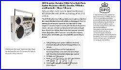 GPO Brooklyn 1980S-Style Portable Boombox CD Player Cassette Player FM Radi