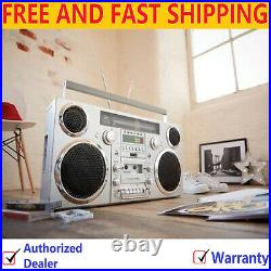 GPO Brooklyn 1980S-Style Portable Boombox, CD Player, FM Radio, USB Silver