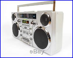 Gpo Brooklyn 1980S-Style Portable Boombox Cd Player, Cassette Player, Fm Radio