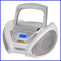 Groov-e Bluetooth Boombox Portable CD Player with Radio White