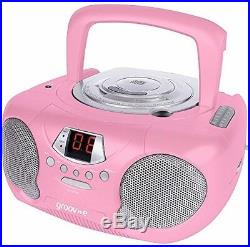 Groov-e Boombox Portable CD Player With Radio and Headphone Jack Pink