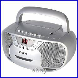 Groov-e Classic Boombox Portable CD Player with Cassette & Radio
