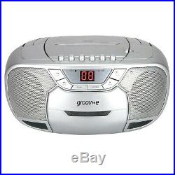 Groov-e Classic Boombox Portable CD Player with Cassette & Radio Classic Silver