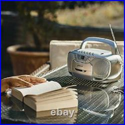 Groov-e Classic Boombox Portable CD Player with Cassette & Radio, Classic Silver