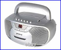Groov-e Classic Boombox Portable CD Player with Cassette and Radio
