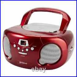 Groov-e GVPS733 Red Portable Boombox Audio CD Player Radio Aux In FREE AUX LEAD