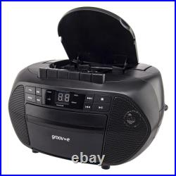 Groov-e GVPS833BK Traditional Boombox Portable CD & Cassette Player with Radio