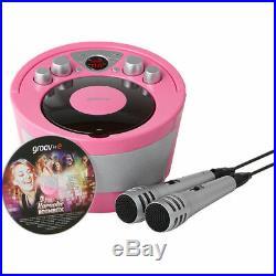 Groov-e GVPS923PK Portable Karaoké Boombox Lecteur CD & Bluetooth Playback Rose