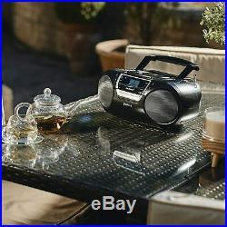 Groov-e GVPS933BK Bluetooth Wireless Portable Boombox CD Cassette Player USB FM