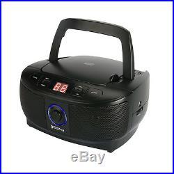 Groov-e Gvps723bk Mini Boombox Portable Retro CD Player With Radio In Black