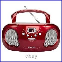 Groov-e Portable CD Player Boombox with AM/FM Radio, 3.5mm Assorted Colors