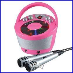Groov-e Portable Karaoke Boombox CD Player Bluetooth Wireless Playback Pink