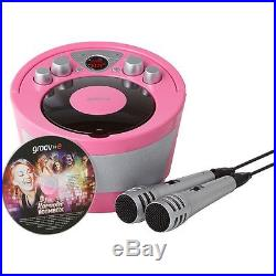 Groov-e Portable Karaoke Boombox with CD Player and Bluetooth Playback Pink
