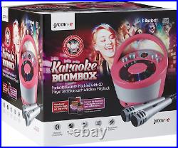 Groov-e Portable Party Karaoke Boombox Machine with CD Player, Bluetooth Party &
