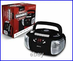 Groov-e Retro Boombox Portable CD Cassette Radio Player Black GVPS813BK