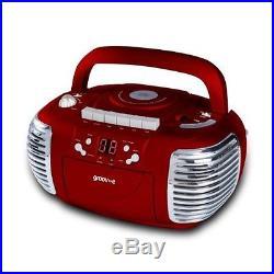Groov-e Retro Boombox Portable CD, Cassette, Radio Player Red GVPS813RD For u