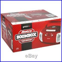 Groov-e Retro Boombox RED Portable CD & Cassette Player with Radio GVPS813RD NEW